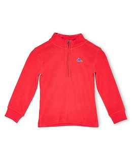 Cherry Crumble California Fine Waffle Half Zipped Sweatshirt - Red