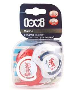 Lovi Marine Dynamic Soothers Pack of 2 - Red White