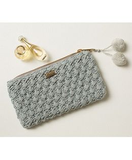 Pluchi Amelia Knitted Coin Purse With Tassel - Mineral Blue