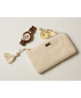 Pluchi Knitted Coin Purse With Tassel - White