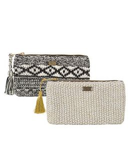 Pluchi Set Of 2 Knitted Coin Purse - Black White & Grey