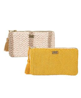 Pluchi Set Of 2 Knitted Coin Purse - Mustard & Grey