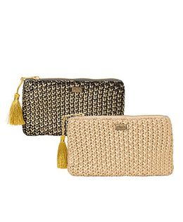 Pluchi Set Of 2 Knitted Coin Purse - Black & Golden