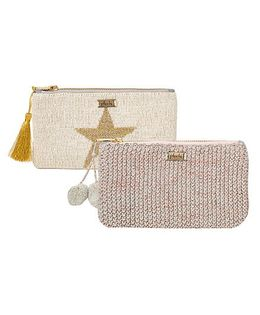 Pluchi Set Of 2 Knitted Coin Purse - Light Grey & Copper