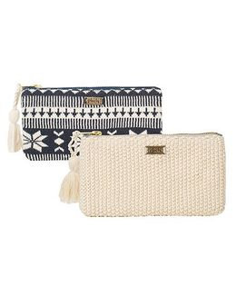 Pluchi Set Of 2 Knitted Coin Purse - Navy Blue & Ivory