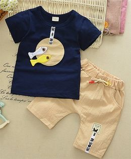 Funtoosh Kidswear Fish Print Tee With Capri Set - Blue