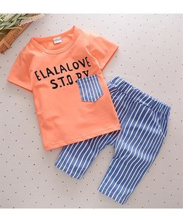 Funtoosh Kidswear Story Print Tee With Pant Set - Orange