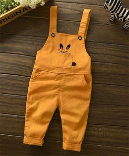 Funtoosh Kidswear Bunny Print Dungaree - Orange