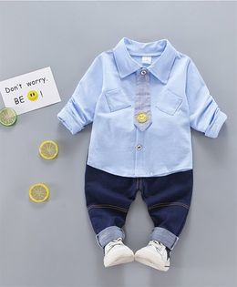 Funtoosh Kidswear Smiley Print Shirt & Pant Set - Blue