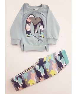 Funtoosh Kidswear Camouflage Print With Pant Set - Grey