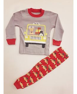 Funtoosh Kidswear Taxi Print Tee With Pant Set - Grey