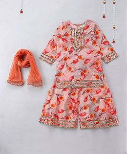 Hugsntugs Tulip Printed Suit With Palazzo Pants - Peach