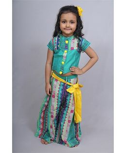 Varsha Showering Trends Top With Pom Poms With Pleated Palazzo With Belt - Multicolor