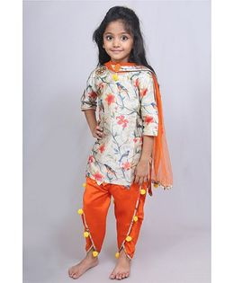 Varsha Showering Trends High Low Printed Kurta With Tulip Pants & Dupatta - Multicolor