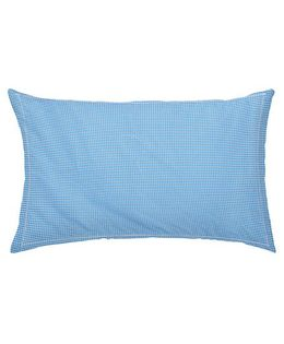 The Baby Atelier Organic Cotton Checks Junior Pillow Cover Without Filler - Blue