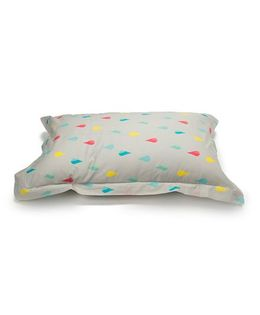 The Baby Atelier Organic Cotton Raindrops Junior Pillow Cover Without Filler - Multicolour