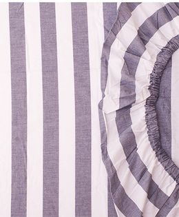 The Baby Atelier Organic Cotton Stripe Fitted Crib Sheet - Grey & White