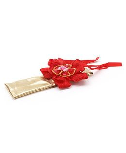 Treasure Trove Head Band With A Flower - Red & Gold