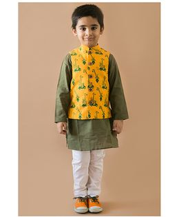 Tiber Taber Jungle Print Kurta Pajama And Jacket Set - Yellow