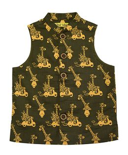 Tiber Taber Jungle Print Nehru Jacket - Olive Green