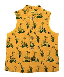 Tiber Taber Jungle Print Nehru Jacket - Yellow