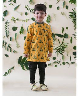 Tiber Taber Jungle Print Kurta Style Shirt - Yellow