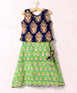 Petite Kids Hand Block Print Skirt & Kalamkari Top - Navy