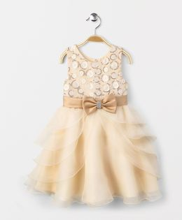 Fashion Collection by Meggie Party Dress With Bow At Waist - Cream