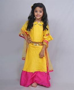 Varsha Showering Trends Collared Top With Bell Sleeves With Ghagra & Dupatta - Yellow & Pink