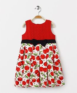 Yellow Duck Sleeveless Party Wear Frock Fruits Print - Off White Red