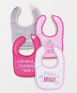Luvable Friends Multi-Printed Set Of 4 Bibs - Pink & Multicolour