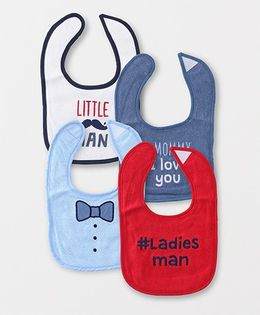 Luvable Friends Multi Printed Pack Of 4 Bibs - Red & Blue