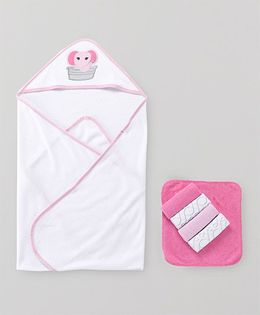 Luvable Friends Printed Hooded Towel With 5 Wash Cloths - White & Pink