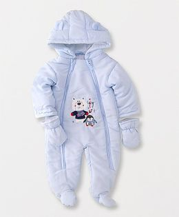 Luvena Fortuna Bear Printed Footed Romper With Hood - Blue