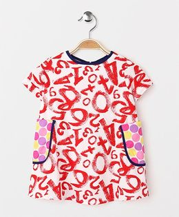 The Kidshop Numbers Print Dress With Polka Pocket - Red