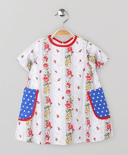 The Kidshop Floral Dress With Pockets - Grey