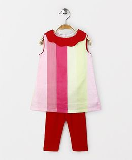 The Kidshop Striped Shift Dress & Leggings Set - Pink