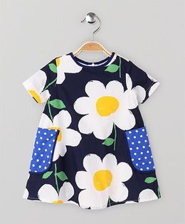 The Kidshop Big Flower Dress With Colorful Polka Dots Pocket - Navy