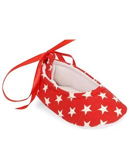 Spring Bunny Star Print Booties - Red