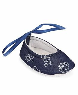Spring Bunny Cute Booties With Ribbon - Blue