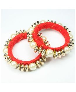 Asthetika Beaded Pearl Bangles Set Of 2 - Red