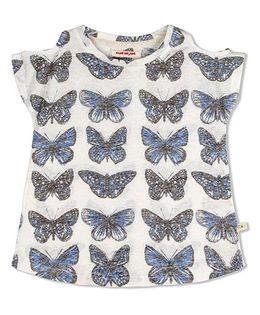 Raine And Jaine Butterfly Print Top - White