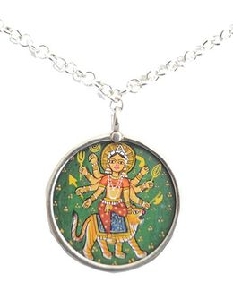 Pretty Ponytails Durga Silver Pendant  With Chain - Silver & Multicolor
