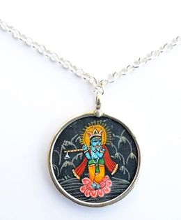 Pretty Ponytails Krishna Rasleela Pendant With Chain - Silver & Multicolor