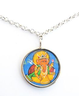Pretty Ponytails Ganesha Pendant With Chain - Silver & Multicolor