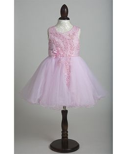 Whitehenz Clothing Beads Sequins Floral Applique Party Dress - Pink