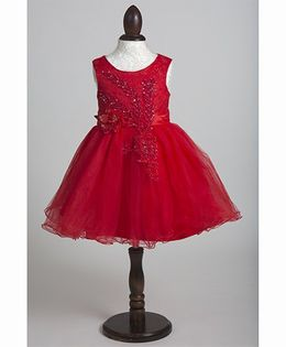 Whitehenz Clothing Beads Sequins Floral Applique Party Dress - Red