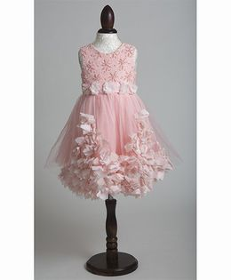 Whitehenz Clothing Fall Fusion Tulle Party Dress with Floral Belt - Peach
