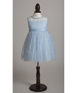 Whitehenz Clothing Net Emblished Party Dress with Pearl Neckline - Sky Blue