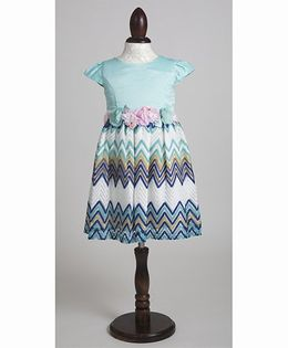 Whitehenz Clothing Coral Stripe Party Dress with Floral Belt - Aqua Blue